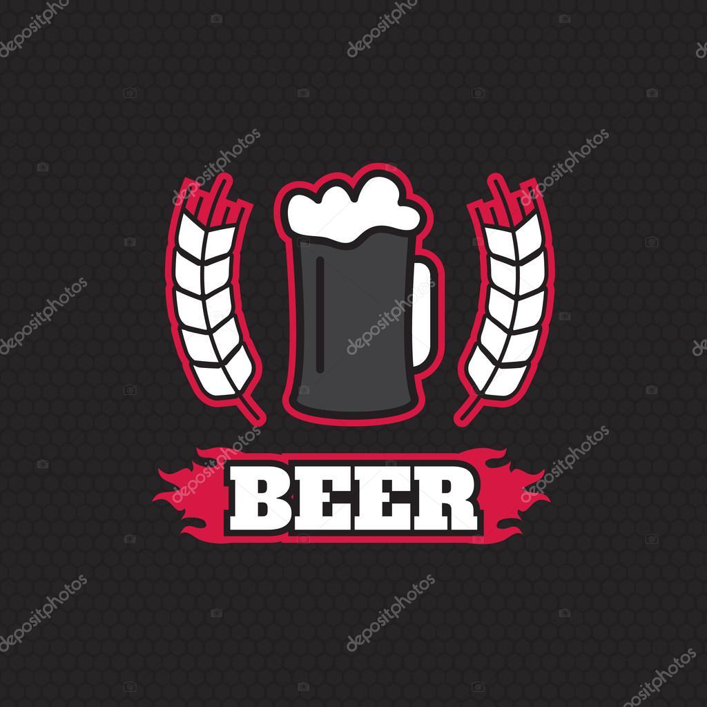 Vintage Retro Badge Logo Design Template For Beer House Bar Pub