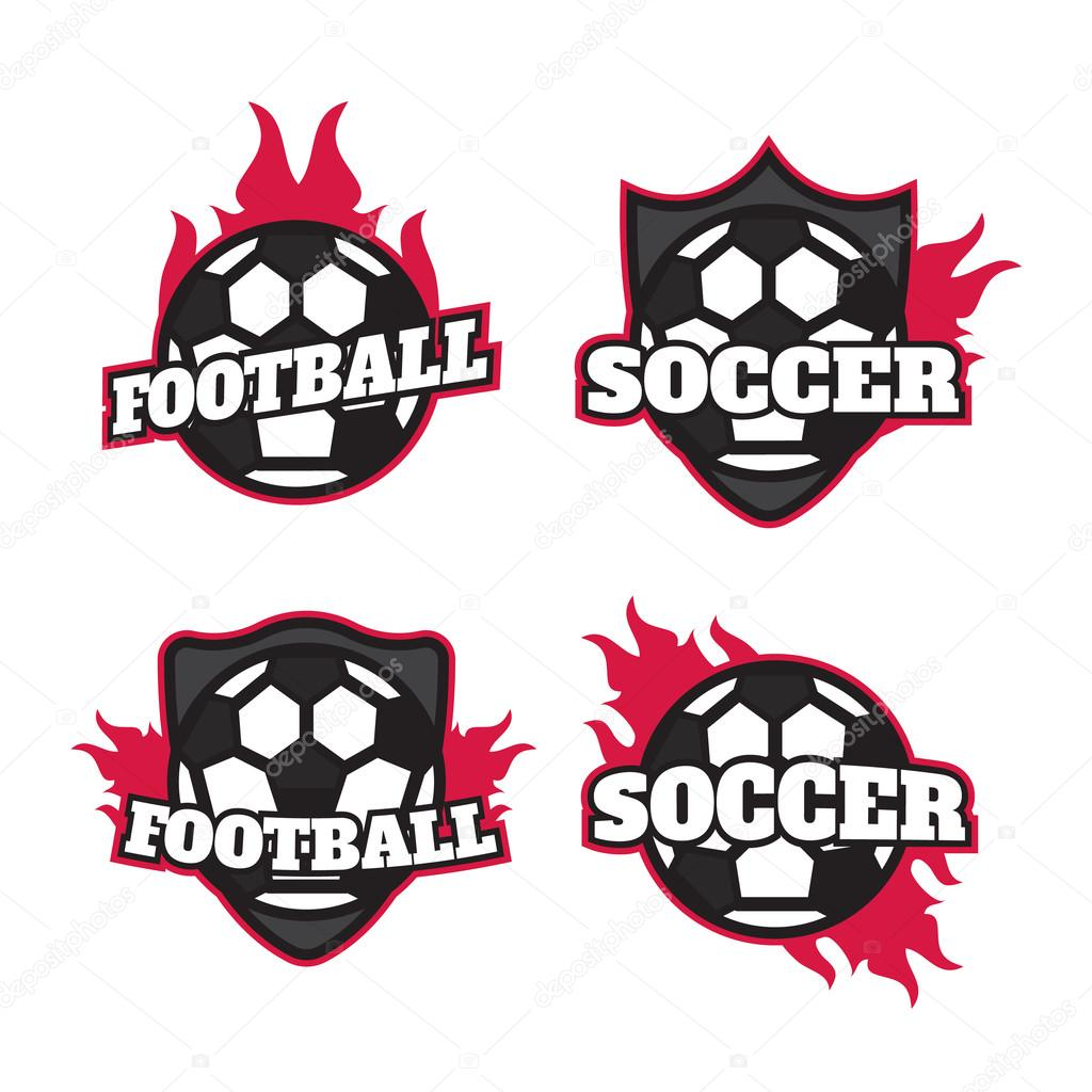 Set Of Soccer Football Badge Logo Design Templates Sport Team