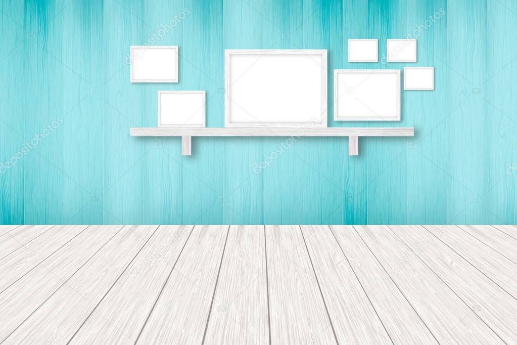Fondo De Madera Azul Con Cuadros Blancos Decoracion De Interiores - Decoracion-de-interiores-con-cuadros