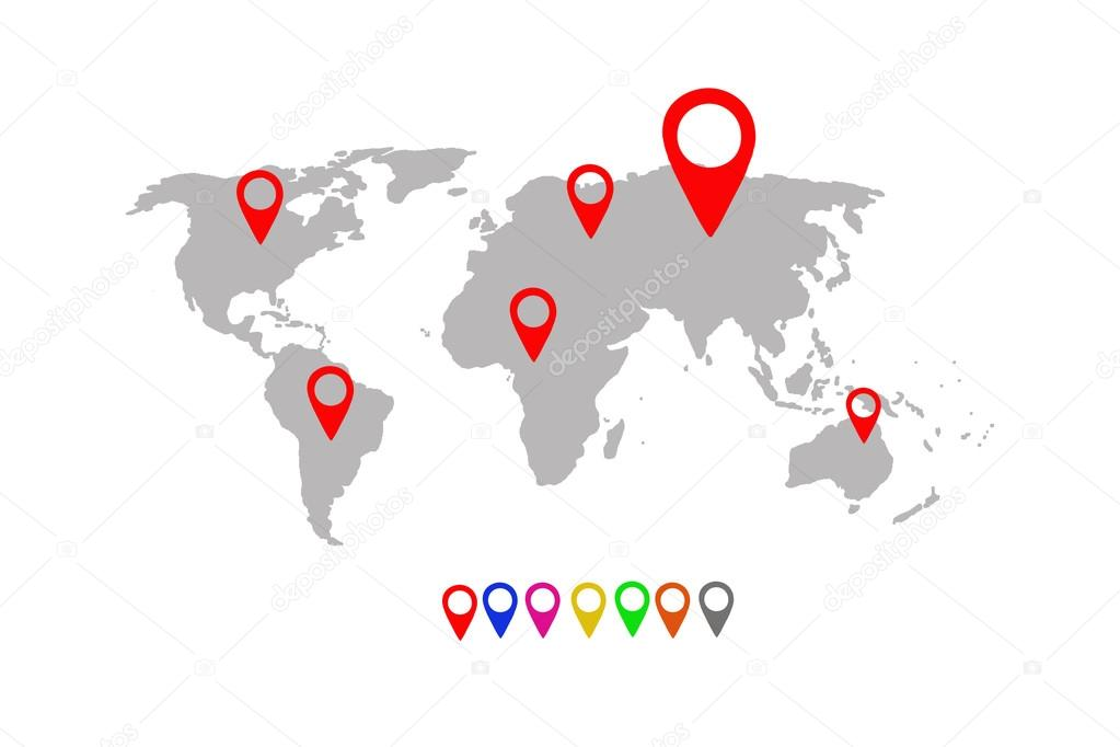 World map with location pins stock photo tonefotografia 92711650 world map with location pins stock photo gumiabroncs Choice Image