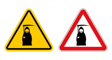 grim reaper warning sign of attention. Death Danger Yellow sign.
