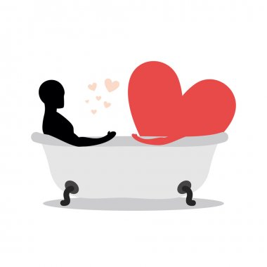 Heart of man in bath. Man and symbol of love is taking a bath. J