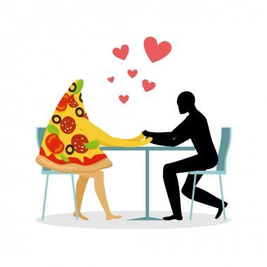 Lover pizza in cafe. Man and a slice of pizza sitting at table. food in restaurant. Pizza in dining room. Romantic date in public place. Romantic illustration life gourme clip art vector