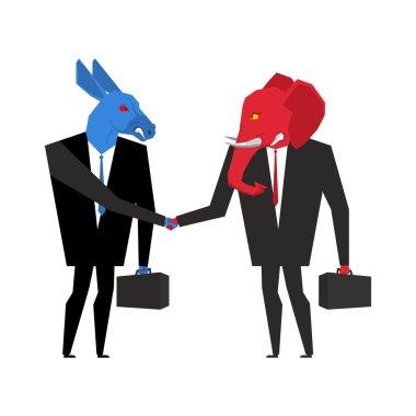 Transaction elephant and donkey. Democrats and Republicans shake