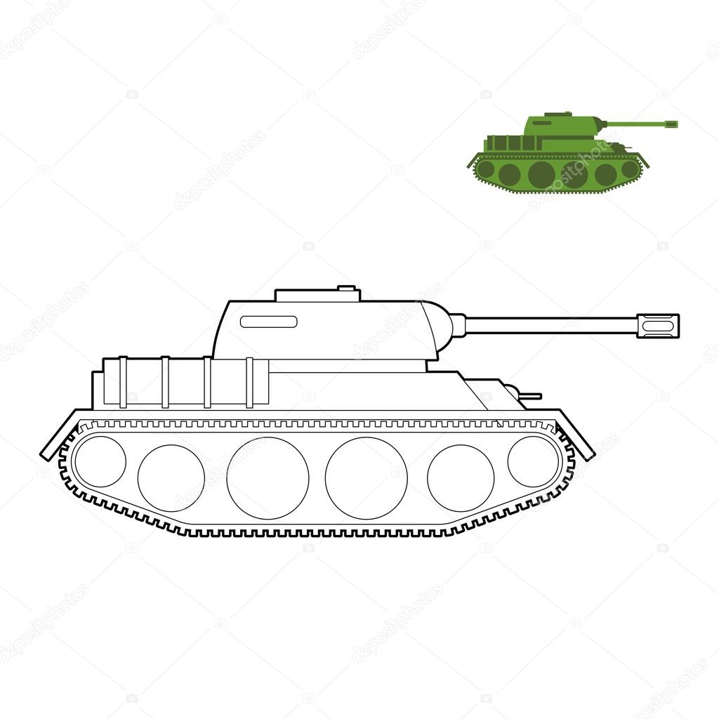 Military Tank Coloring Book Fighting Technique In Linear Style