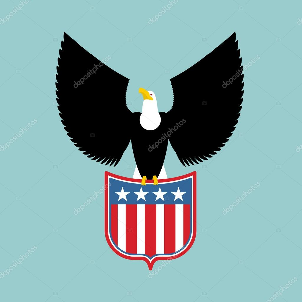 Eagle and coat of arms of  USA. American national symbol. Birds