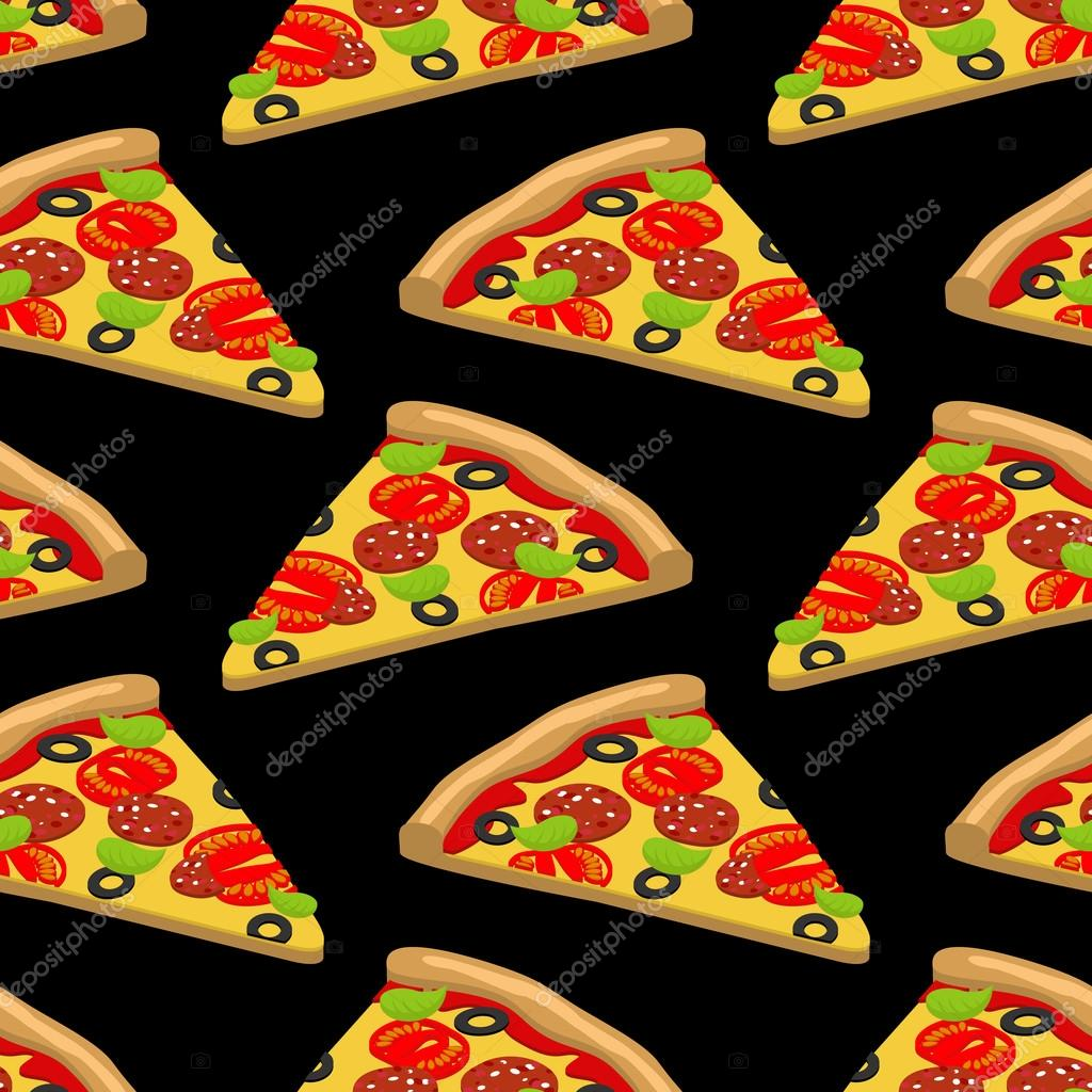 Pizza pattern. Piece of tasty pizza on black background. Texture