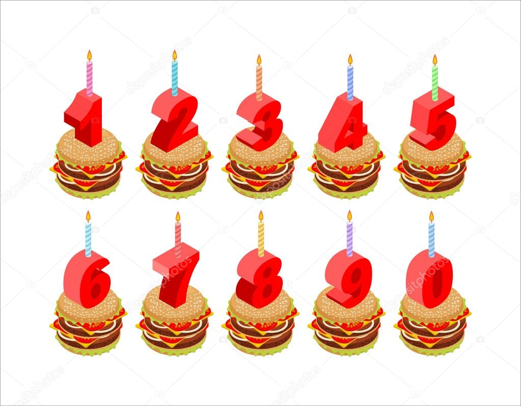 Burger And Birthday Candles Numbers Set Holiday Isometri Stockillustration