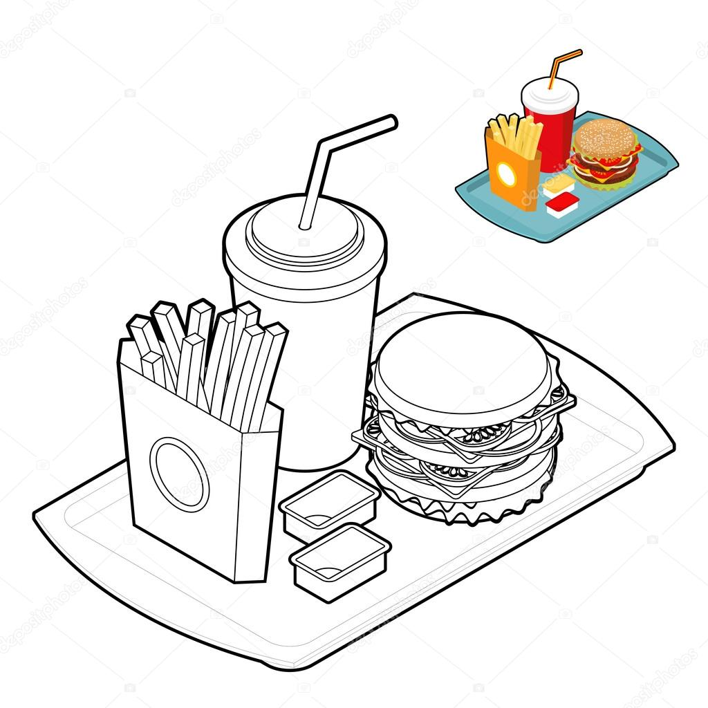 Fast Food Boyama Kitabı Gıda Lineer Tarzda Büyük Taze Hamburg