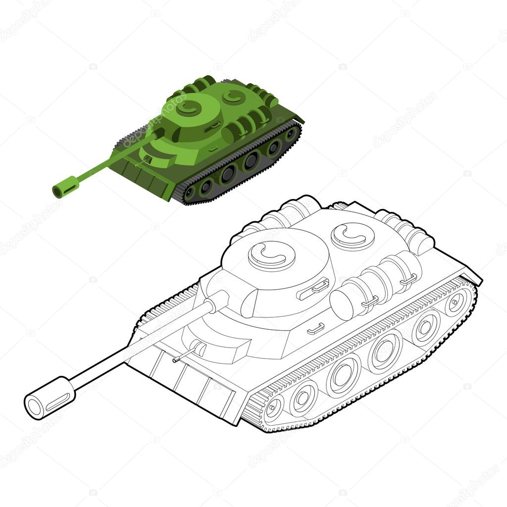Tank Coloring Book Army Equipment In Linear Style Armored Figh