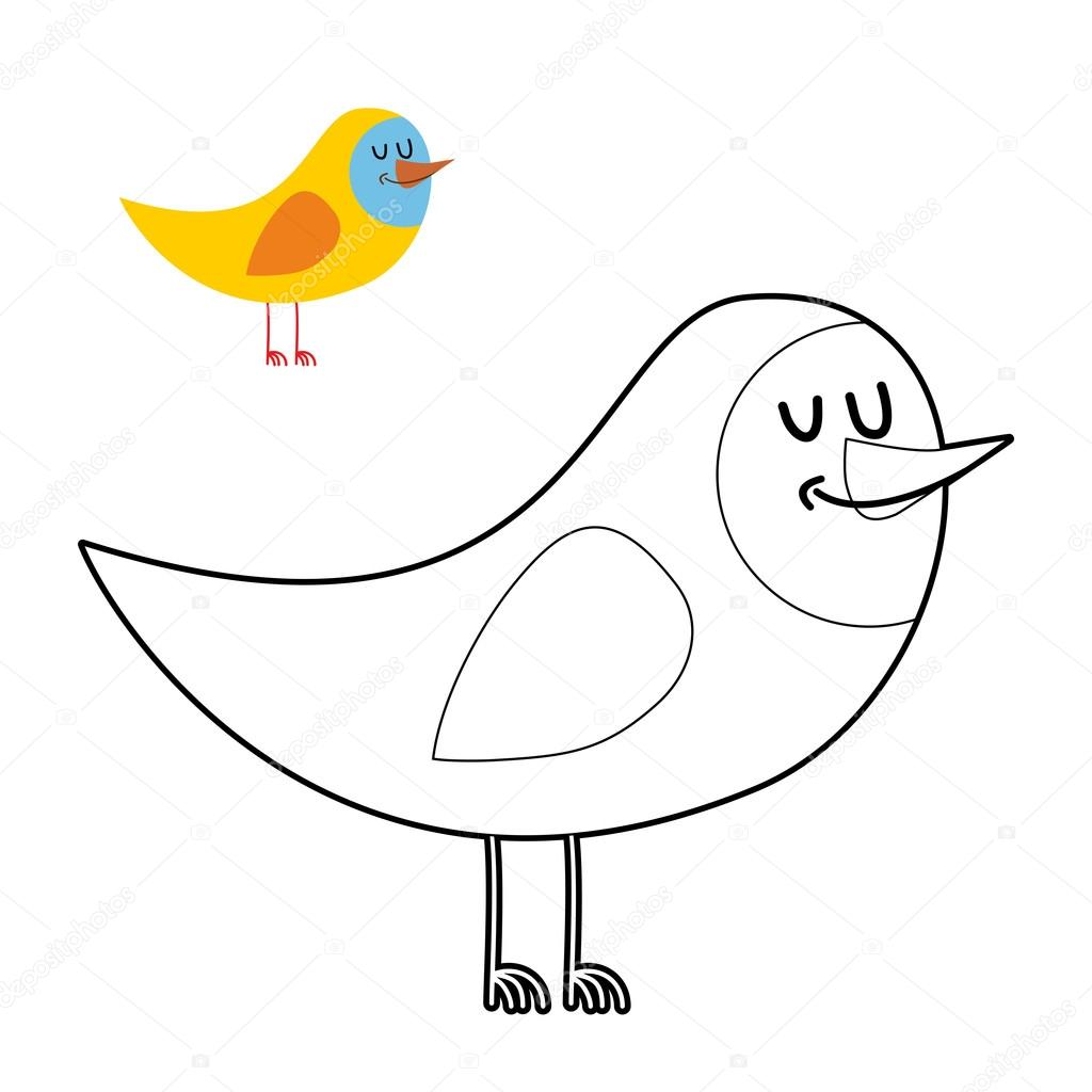 Funny Bird Coloring Book Comical Fowl In Linear Style Stock