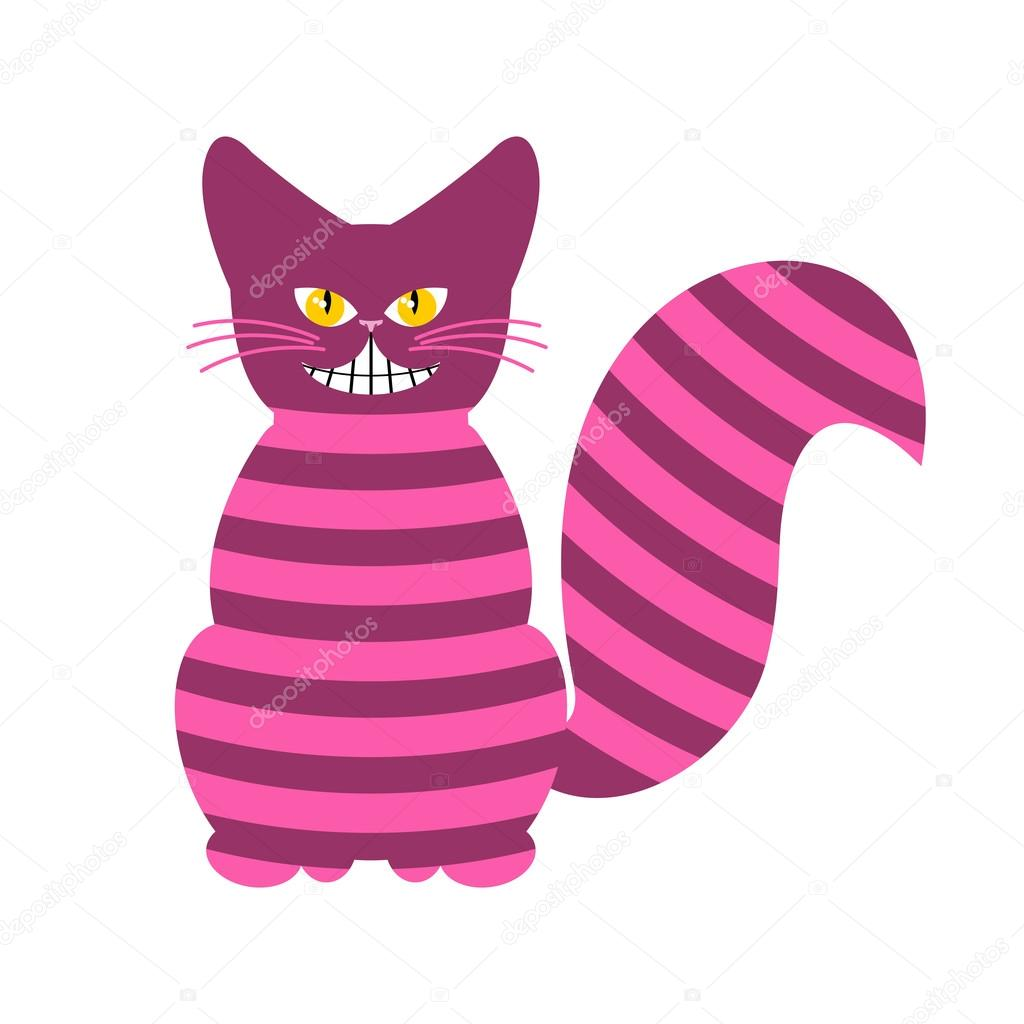 Cheshire Cat. Magic animal with long tail. Striped Fairy tale ...