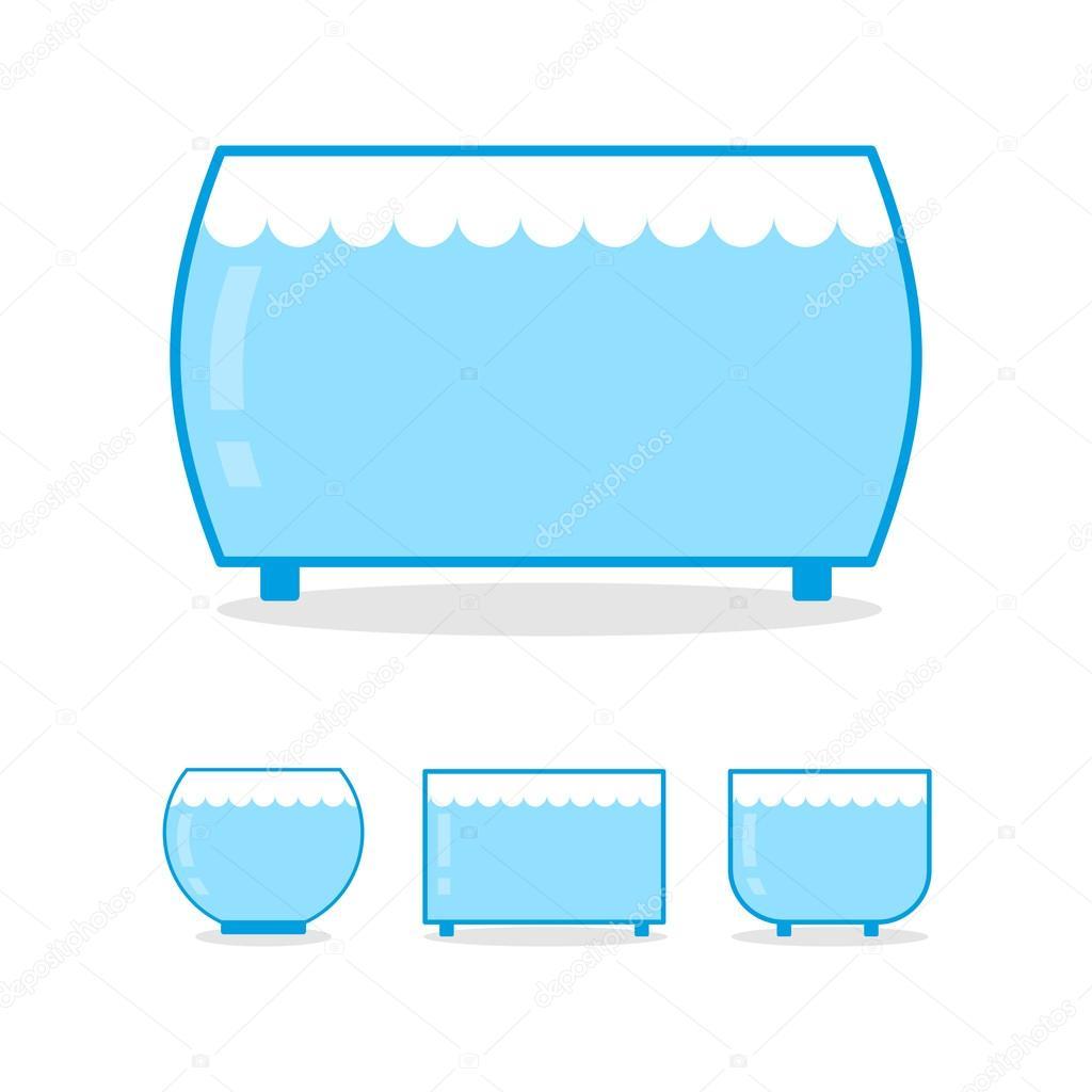 Aquarium vide sur fond blanc bocal en verre clair pour for Aquarium bocal