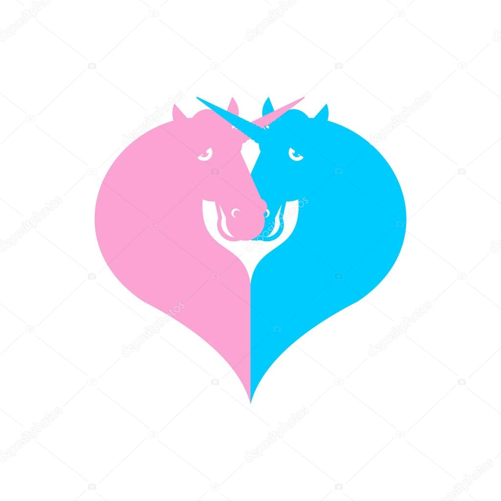 Unicorn Symbol Lgbt Community Sign Of Love And Two Magic Animal