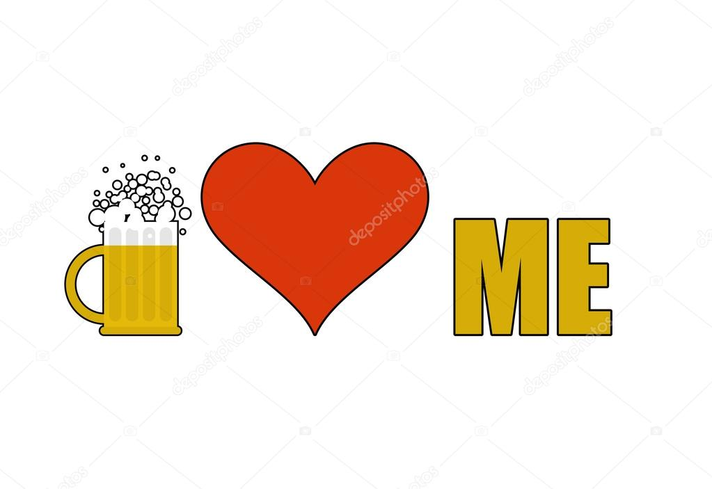 Beer Loves Me Heart Symbol Of Adoration Mug Of Beer With Alcoh