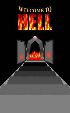 Welcome to hell. Stairway to hell. Iron black gates of  Fiery pu
