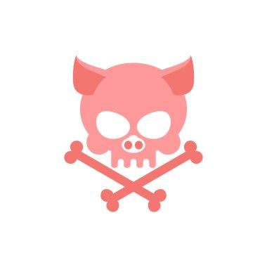 Pig skull with bones. Head skeleton of  pig. Logo for Halloween.
