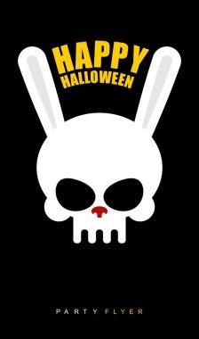 Happy Halloween. Rabbit skull on  black background. Party flyer.