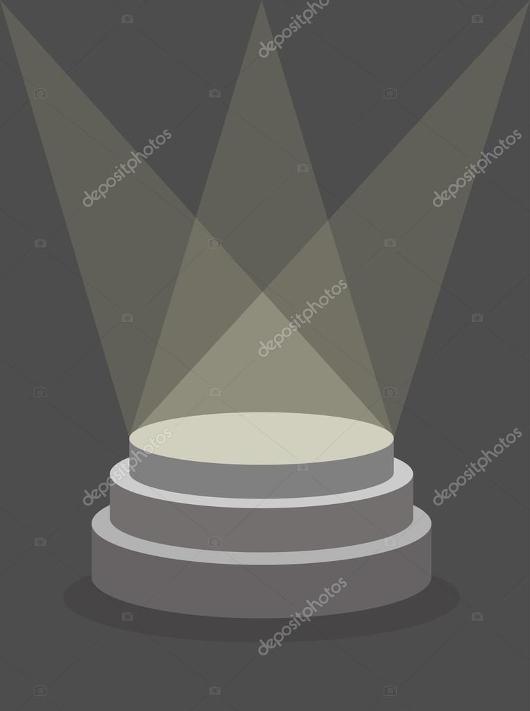 Round Pedestal on a dark background, illuminated by floodlights.