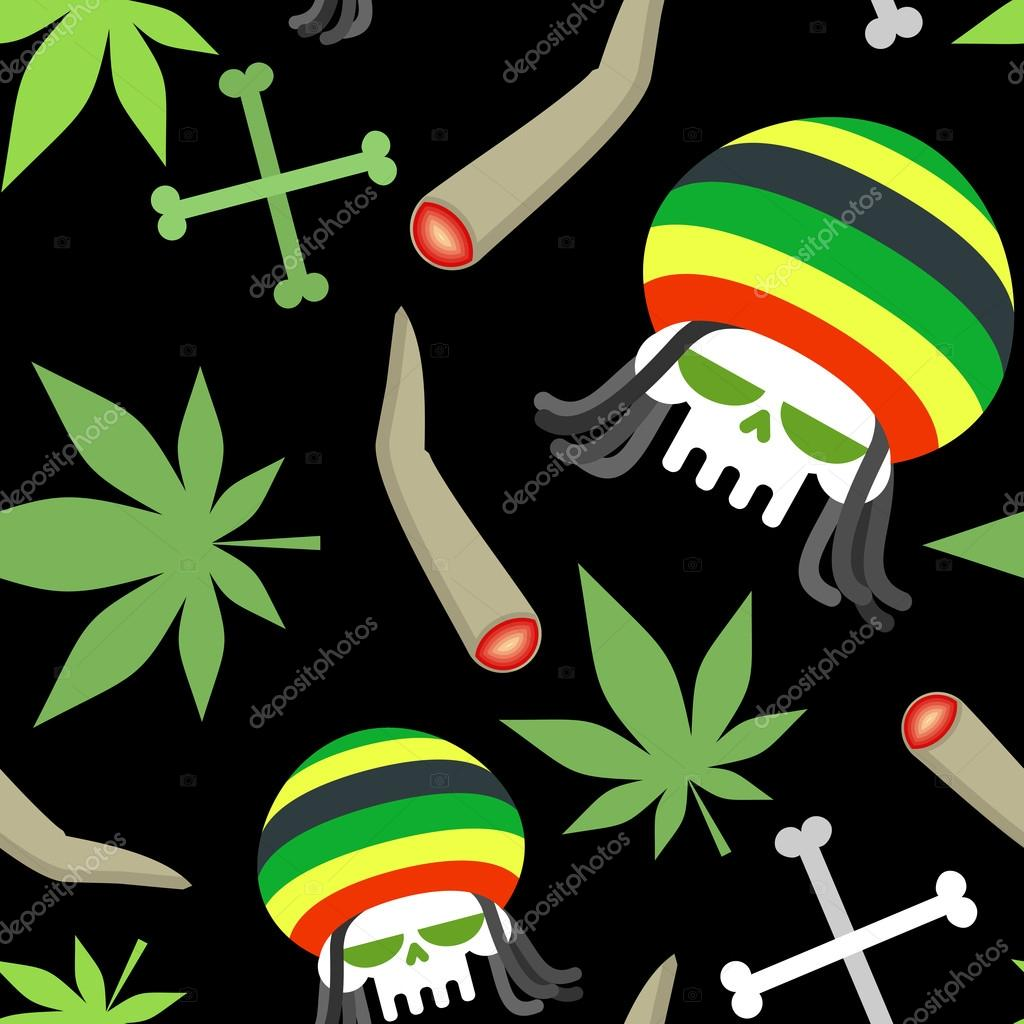 Rasta pattern seamless background from marihuanny and skull sm stock vector