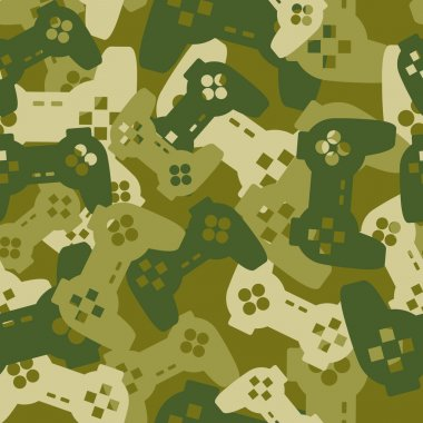 Military texture from gaming joysticks. Army seamless pattern ga