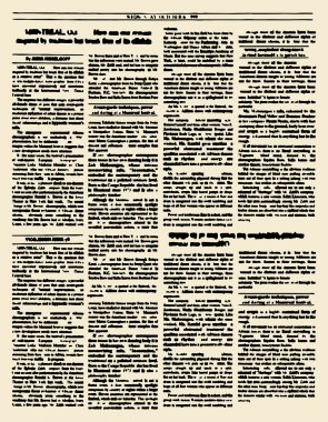 Old newspaper. Vintage magazine page. Vector illustration. Yello
