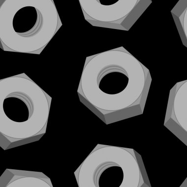 Iron Nuts on a black background seamless pattern. Vector backgro