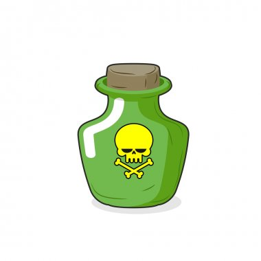 Magic Bottle with a skull. Medical bottle with a poisonous liqui