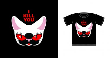 I  kill you. Angry white cat with red eyes. Logo for bully. Fero