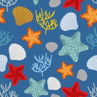 Marine seamless pattern. Starfish, scallop and corals. Clam shel