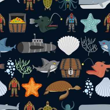 Ocean seamless pattern.  Ocean inhabitants. Starfish and shark o