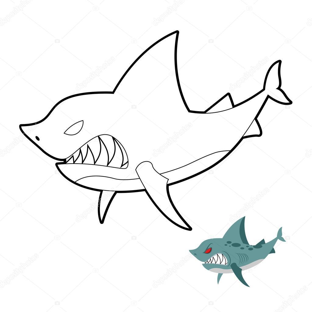 Shark coloring book. Angryl underwater animal. Vector illustrati ...