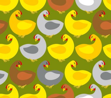 Chicken seamless pattern. Chicken farm. Many colored birds. Vect