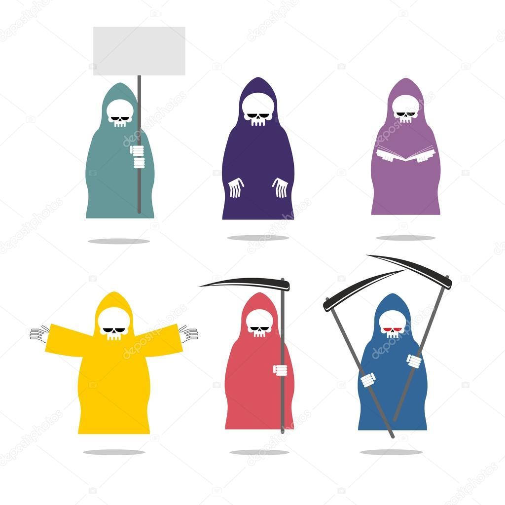 e2ee0eb49da8f2 Bunte Regenmäntel inmitten Sie Sensenmann. Tod in verschiedenen Positionen  und farbige Kleidung. Tod mit Buch und Sense. Skelett Hand Umarmung.