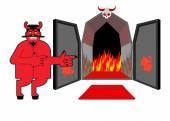 Sátán meghívja Önt, hogy a pokol bűnösökért. Ördög azt jelzi, hogy kezét a purgatóriumban