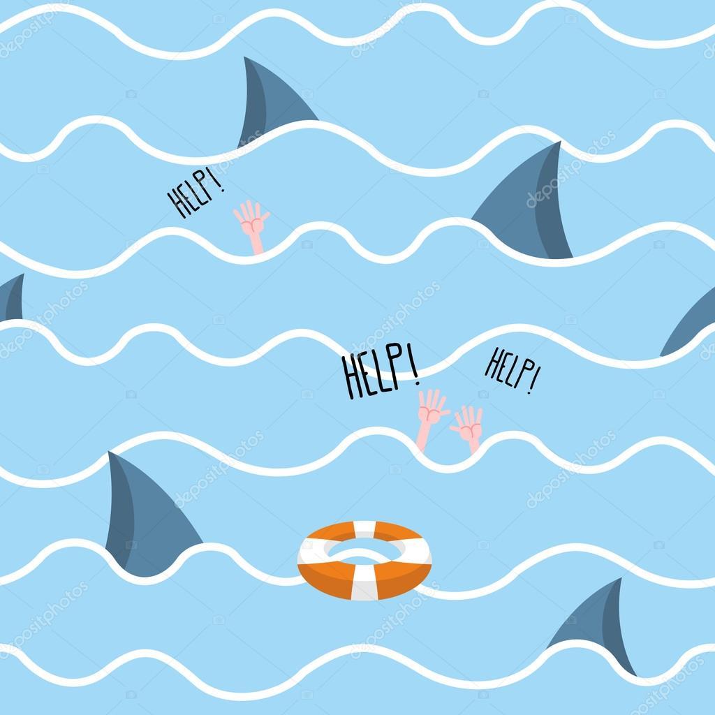 Shark in  sea seamless pattern. Man drowns. Scenery screams help