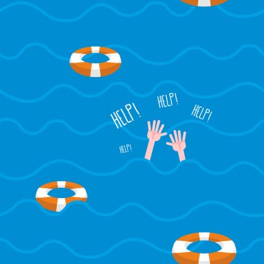 Man drowns  seamless pattern. Lifebuoy on waves of sea. Texture