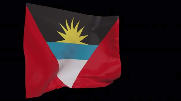 Antigua and Barbuda waving flag seamless loop animation. 4k Alpha Channel transparent background. 3d Antigua and Barbuda Flag