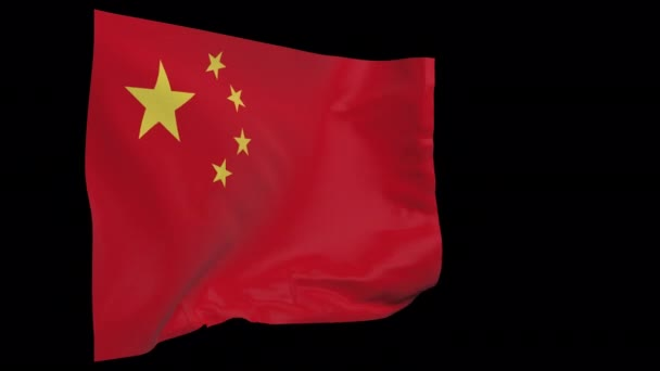 China waving flag seamless loop animation. 4k Alpha Channel transparent background. 3d China Flag