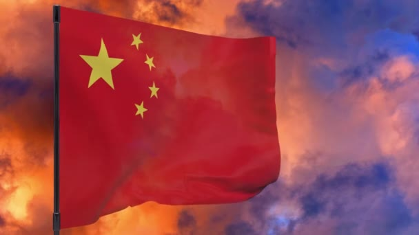 China waving flag seamless loop 3d animation 4k .  China flag on pole with sky background
