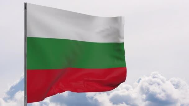 Bulgaria waving flag seamless loop 3d animation 4k .  Bulgaria flag on pole with sky background