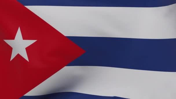Kuba mává vlajkou bezešvé smyčky animace 4k. 3d Kuba Vlajková textura zavřít pozadí