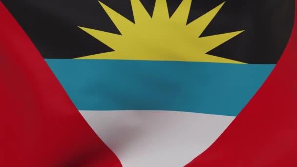 Antigua and Barbuda waving flag seamless loop animation 4k. 3d Antigua and Barbuda Flag texture close up background