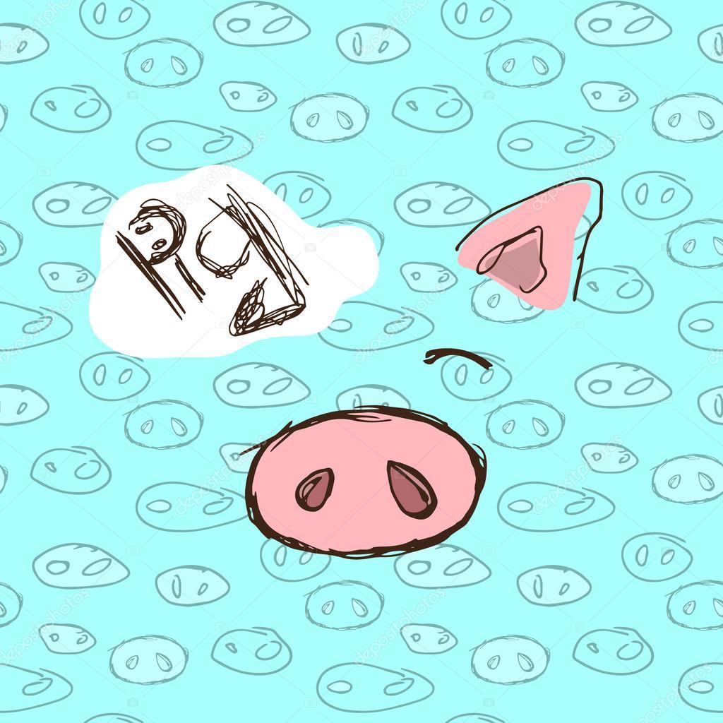 手描きのイラスト年賀状豚と冬カード ストックベクター Kseniya