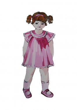Hand painted illustration of a child. Curly girl in pink dress.