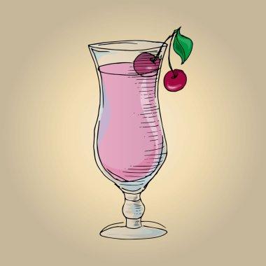 Illustration milkshake with cherries in a glass