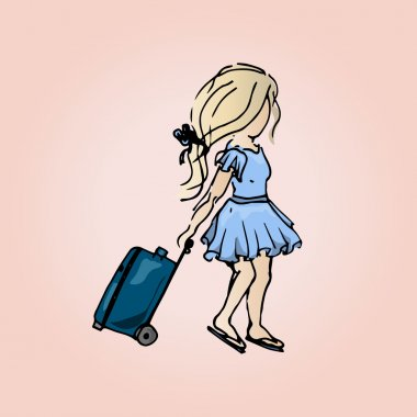 Illustration of a cute girl with a suitcase. Student girl on vacation. Travels.
