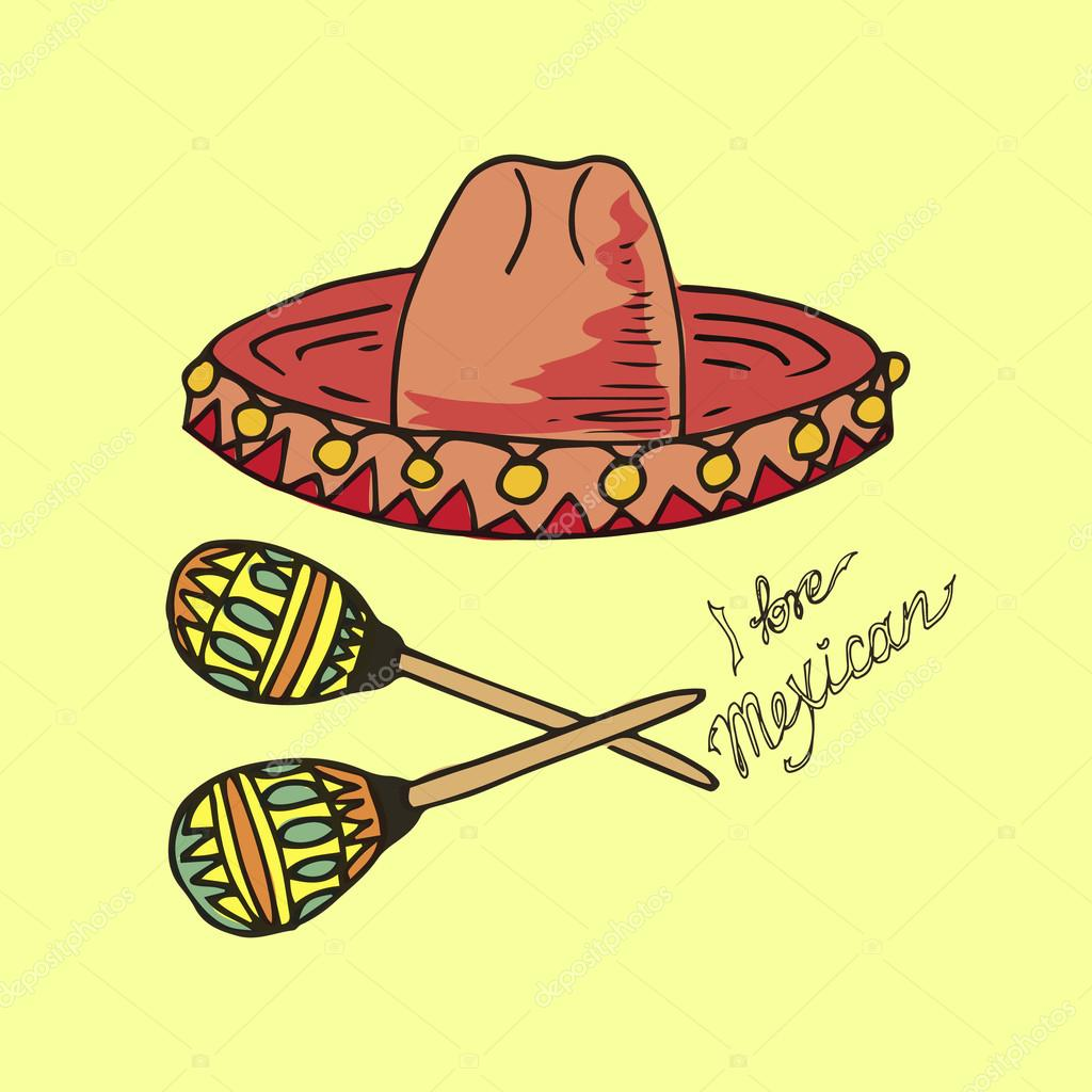 1b1aaf71f78 Illustration of Mexico. Hat sombrero and maracas. I love Mexican — Stock  Vector