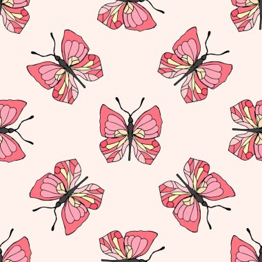 Illustration of pink butterflies. Seamless pattern.
