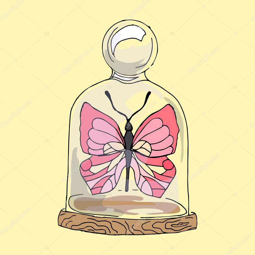 Illustration pink butterfly under the dome.